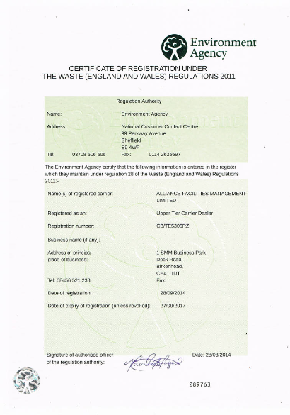 Registered waste licence